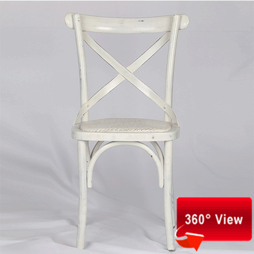 ZS-9002L ANTIQUE WHITE CROSS BACK CHAIR