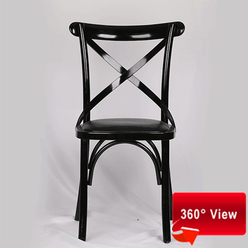 ZS9002L CROSS BACK UNSTACKABLE BLACK COLOR PU SEAT